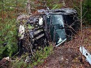 80 meter ut i skogen vid Lövbacken slutade färden för den bedrägerimisstänkte 33-åringen i den stulna BMW:n. Foto: JOHAN PIHLBLAD