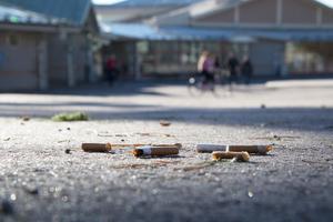 Vid Hammarskolan i Surahammar ligger fimpar utspridda på skolgården – trots rökförbud.