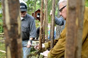 Gärdsgårdsserien. Roger Lind och Lennart Sondér har fått lära sig hur man vrider runt hank för att hålla ihop störar och gärdslen. BILD: BJÖRN PALMQVIST