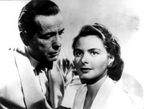 Kärlek på film. Ingrid Bergman och Humphrey Bogart i filmen