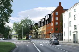 Mot Hertig Karls Allé. Bilden visar del av den första etappen, som JM Bygg har. Det  blir femvåningshus i sekelskiftesstil, med bostadsrätter samt affärslokaler. I förgrunden ses korsningen med Karlslundsgatan. Skolfastigheten delas upp i två kvarter. Pilen visar där den nya lokalgatankommer att gå mellan kvarteren.