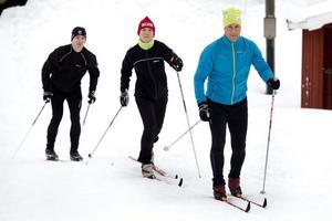 Tre av deltagarna i de två lagen från WSP Gävle: Pär Nilsen, Annika Jonsson och Patrik Hadin på en av inte allt för många gemensamma träningar inför Stafettvasan.