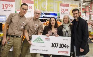 Thomas Ekenhammar, Niklas Jonsson, Ann-Sofie Sterio, Carina Wieweg och Roberto Vacchi var alla väldigt nöjda över det ihoptjänade summan på 107 104 kronor.