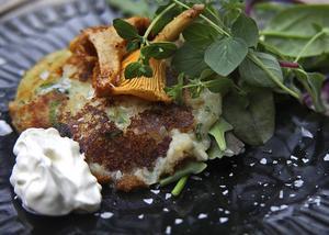 Vegetariska potatisplättar smaksatta med vild svamp är goda som de är eller som alternativ till potatis i sällskap med en köttbit.   Foto: Dan Strandqvist