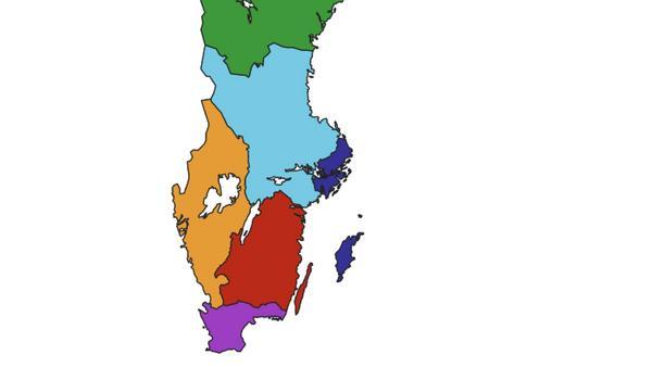 I framtiden kan Sverige delas upp i 6 län i stället för dagens 21 län.