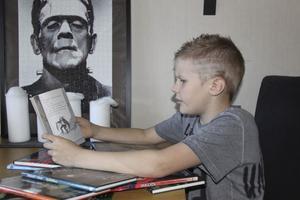 Namne. Frankensteins monster vakar över Batman Rasmus Frankenstein Hedqvist när han läser sina skräckböcker.Foto: Annette Grandin