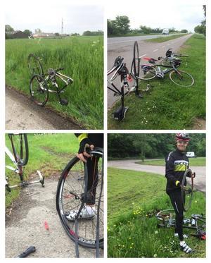 Punkteringarna var många, men vädret var hela tiden med trion som cyklade genom Europa.