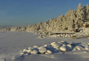 Tyst och stilla längs Storsjöns strand en kall vinterdag.Ope och Storsjön januari 2010, minus 26 grader och sol.Foto: Anita Brattgrå