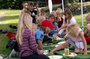 En spindel. Efter musiklekar blev det picknick i det gröna för en del av barnen. – En spindel på Elsa, skrek någon upprört, och sedan tog det ett tag för tumultet att lägga sig. Foto:Ulrika Hansson