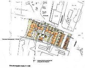 Seniorboende. Det här är en preliminär skiss över det tilltänkta boendet i Strömsbro. Tanken är att husen, som byggs i två plan, tillsammans ska rymma 25-30 lägenheter. Närmsta grannar blir bland annat kolonistugor och en handelsträdgård.