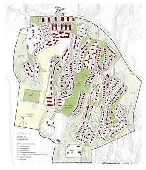 Många av de yttranden som kommit till kommunen gällande Källberga handlade om miljön. Illustration ur Källbergas detaljplaneförslag