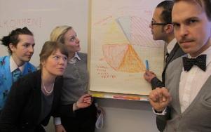 Scenkonstellationen vid cirkeldiagrammet som visar innehållet i Tulpansvindeln. Foto: Ulf Lundén