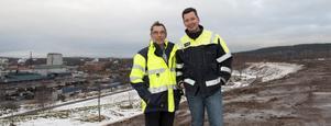 Jan-Olov Johansson från Entreprenörssamordning och Johan Hjerpe från Miljö, har arbetat med projektet bullervall på Savelgärdet.