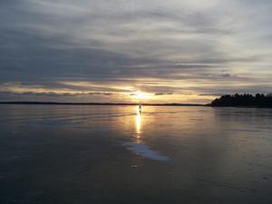 Tog denna bild av en skridskoseglare på väg hem efter en fantastisk dag på mälarens is söndagen den 26/1.Bilden är tagen på Västeråsfjärden