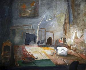 Hans-Eric Öbergs målning av sitt ateljébord.