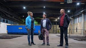 Matilda Bastman är projektledare för Marab. Joakim Larsson, näringslivschef i Orsa och kommunalråd Mikael Thalin välkomnar Marab till Orsa.
