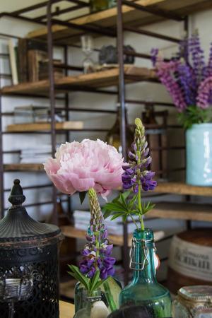 Isabella är florist tillyrket vilket märks i hemmet. Här är det lupiner och pioner. I bakgrunden syns Isabellas tevehylla som egentligen är gamla bagarvagnar som hon hittade på en skrot i Sala.