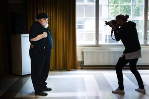 Författaren George RR Martin besökte på tisdagen Stockholm för ett fan-event och mötte samtidigt press från flera länder.   Foto: Pontus Lundahl/TT