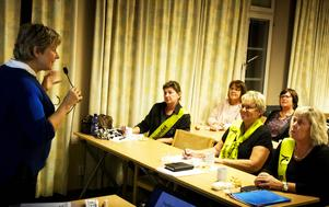 Anna Abrahamsson, arbetsterapeut från Gävle, informerade om dagvårdsrehabilitering. Längst fram satt representanter för Reumatikerdistriktet: Elisabet Eriksson, vice ordförande, Anneli Nordh, kassör och Pia Lennhage, ordförande.