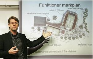 Aktuell igen. Den här bilden togs när entreprenören och Albaordföranden Anders Wiman våren 2008 presenterade förslaget till en flerfunktionshall för idrott och kultur i Stadsparken. Idén med en kombinationslösning aktualiseras nu på nytt inför avgörandet om hur kommunen ska lösa kulturskolans behov av nya lokaler.