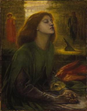 """""""Beata Beatrix"""" av Dante Gabriel Rossetti visas i utställningen """"Prerafaeliterna"""" på Nationalmuseum."""