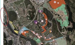Det är område 6 som boende på Kummelvägen vänder sig emot. Bokstaven C är Fornhöjden vars nedre och östra kant kallas Fornbacken, bokstaven B är Östertälje station där pendeltågen går. Det inringade området till vänster är Södertälje stadskärna. På bilden ses även kanalen i nedre vänstra hörnet samt E4/E20 som slingrar sig fram tvärs genom bilden. Till höger ses Glasberga som område D samt väg 225 mot Gärtuna och Nynäshamn.