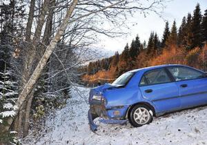 Här inträffade den första olyckan, en singelolycka där en bil på väg mot Duved halkade av vägen.Foto: Elisabet Rydell-Janson