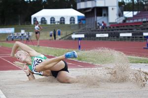 Med ett nytt personbästa på 12,99 meter vann Erika Wiklund damernas tresteg i Gefle Games.