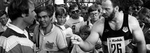 Ricky Bruch tävlade i diskus i friidrotts-SM i Västerås 1985.