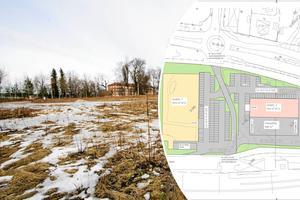 Så här såg byggplanerna ut i mars i år. Den gula byggnaden kommer att vara Dollarstore och den rosa Jem & Fix. Närmast på bild kommer Jem & Fix att bli och närmast Arbetsförmedlingen kommer Dollarstore att ta plats.Bild: FP-arkiv och CT Development