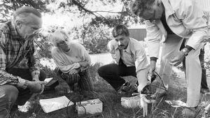 Bror Engström, Ingeborg Kleinhans, Jan Elkert och Valter Andersson (de båda sistnämnda från Asea-Atom) undersöker en radioaktiv hot-spot i dingtunaträdgården.