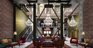 """Ett signalord i marknadsföringen av The Steam hotel är """"industri"""". Tegelväggarna lyfts fram och detaljer som de kraftiga stålbjälkarna får en framträdande plats."""