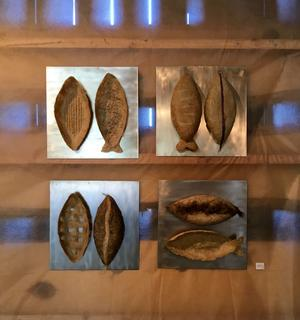 Skulpturer i lin av Lisbeth Vestin. Foto: Moa Lindstedt
