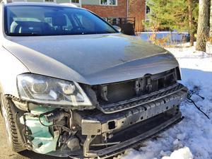 Bilen efter stölden 25 februari.