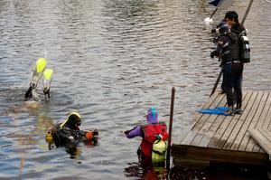 I vattnet. Dykarna gör de sista justeringarna med utrustningen innan det bär av under ytan. Foto:Linnea Kallberg