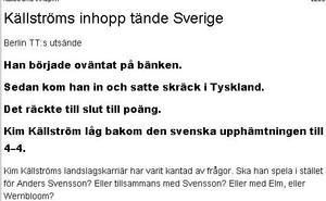 TT:s telegram: Källström tände Sverige.
