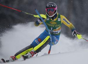 Frida Hansdotter tog sin första pallplats för säsongen i Maribor, Slovenien.