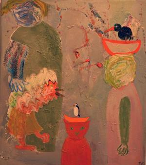 Elisabeth Gothes måleri på Galleri Remi för tankarna till helgonmåleri, men katter eller fantasidjur tar helgonens plats.