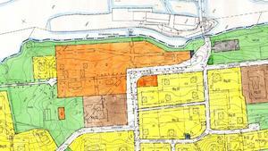 Planritningen visar att herrgården (orange) är Q-märkt.