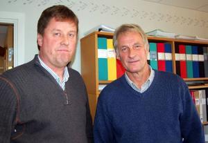 Hans Svensson, vd, och Erling Sundblad, ekonomichef, brottas dagligen med Härjegårdars svaga ekonomi.    Foto: Carin Selldén