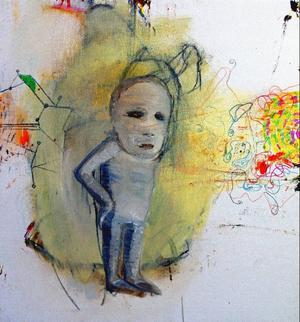 Barn i obehaliga situationer förekdommer flitigt i Leif Mattssons målningar.(Bilden är beskuren).Foto: Tomas Larsson
