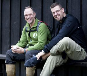 Stefan Forslöf från Smedjebacken gick Gruvtrampen tillsammans med Mikael Parmlind och passade på att göra ett strumpbyte i Ljungåsen.