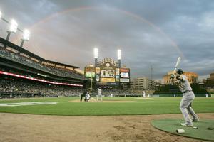 Comerica Arena i Detroit är hemmaplan för baseboll-laget Tigers. Hit går Zetterberg gärna när det vankas slutspelsmatcher.