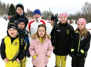 Axel Johnsson, Karl Bennet, Daniel Bennet, Julia Karlsson, Sofia Bennet, Nellie Karlsson och Klara Sjöberg är framtidens skidåkare i Zinkgruvan.