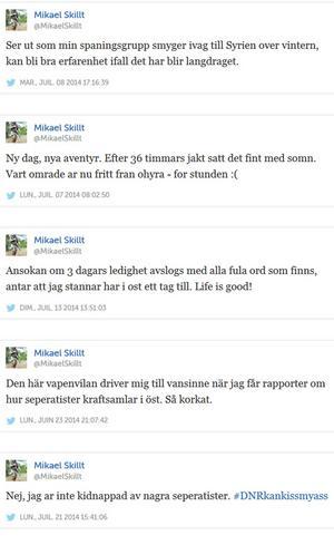 Mikael Skillt skriver själv om planer att åka till striderna i Syrien för