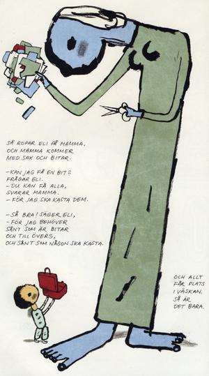 Konstnären Svein Nyhus bilder är för svarta och arga för små barn, menar Linda Berglund.