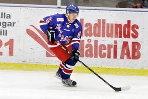 Rimbo Hockeys forward Jonathan Lundberg gjorde ett mål mot Järfälla.