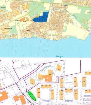 Bygglovs söks för sex Attefallshus på Önevägen i Valla, se gröna området.