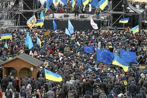 Symbol för frihet. För många människor i Ukraina är EU-flaggan inte en symbol för byråkrati, utan för demokrati och marknadsekonomi. Arkivfoto: Ivan Sekretarev/Scanpix-AP