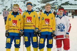 P17-landslaget på Ekvallen i Gustavsberg 2007. Adam Gilljam, Emil Melin (nu i Ljusdals BK), Jonas Engström och Vadim Arkhipkin – lagkamrater i Broberg på den tiden.